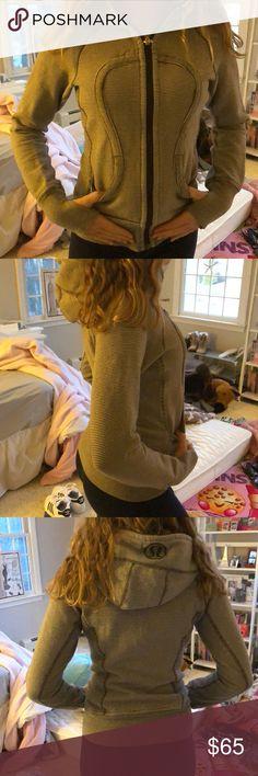 Lululemon scuba hoodie Gray and white striped worn once lululemon athletica Tops Sweatshirts & Hoodies