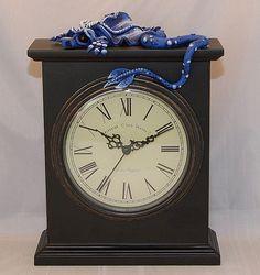 Ooak Polymer Clay Sad Little Dragon on Old World by Tammy Pryce, $70.00 #polymerclay #dragon #clock