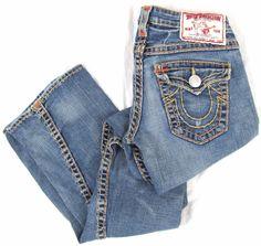 True Religion Women's Jeans 27 x 34 Joey Super T Flare Wide Stitch Blue Denim #TrueReligion #Flare