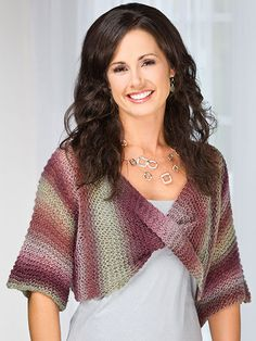 This quick cover-up, knit from cuff to cuff, is super easy to knit and to wear!   Pattern to buy for $3.49.  Size: Includes Woman's S through 3XL. Made with super fine (fingering) weight yarn and size 15/10mm circular needle.  Skill Level: Easy