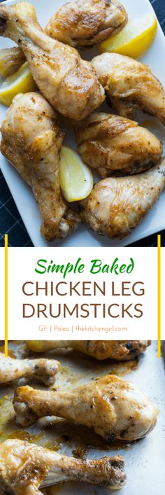 5-min prep, sheet-pan oven roasted chicken for busy weeknights. Kid-friendly and gluten free. Simple Baked Chicken Leg Drumsticks. thekitchengirl.com