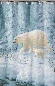 Artic Arrival Polar Bears Fabric Shower Curtain