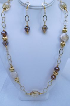 Shell and Crystal Beaded Necklace and Earring set by Windychimes