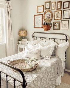 Farmhouse Cottage Bedroom home decor inspo with ruffle pillows and shabby decor . - Farmhouse Cottage Bedroom home decor inspo with ruffle pillows and shabby decor including vintage f - French Cottage Decor, Style Cottage, Country Cottage Bedroom, Farm Cottage, Farm Bedroom, Cottage Bedrooms, Shabby Cottage, Pink Bedrooms, Cottage Decorating