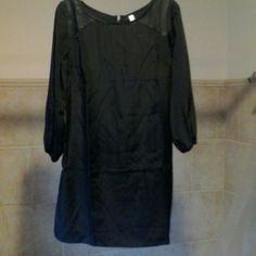 Black sheath dress w/shoulder details Xhilaration poly sheath dress with pleather accent near shoulders.  New with bag. Xhilaration Dresses