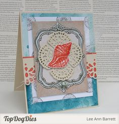 This beautiful beach-inspired card left us shell shocked! It was accented with Top Dog Dies Laurel Lace Border and Decorative Corners Die Set which really help the card stand out.