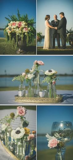 I just got a bunch of 'Vintage' bottles.  I can't wait to use them for weddings this summer.  These pics are giving me some ideas!