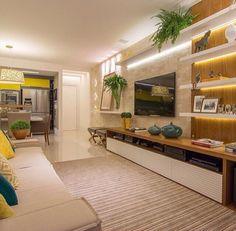 Decoração - Painel e Rack para Sala de TV! Living Room Tv, Home And Living, Tv Wall Design, House Design, Sala Grande, Muebles Living, Home Tv, Beautiful Living Rooms, Living Room Designs
