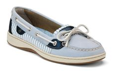 these are fun & comfy. the blue leather isn't as light as they seem--definitely not a powder blue   blue leather & seersucker sperry topsiders