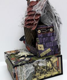 Halloween Spooky House, Halloween in Wonderland, by Einat Kessler, product by Graphic 45 photo 10 Spooky House, Halloween Haunted Houses, Halloween House, Spooky Halloween, Halloween Photos, Halloween Home Decor, Halloween Decorations, Magic Of Oz, Photo Boxes