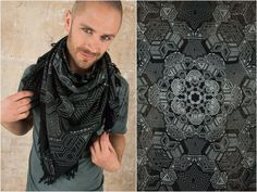 Cotton Linen Scarf with Sacred Geometry Print. The perfect Star Wars Cosplay as Keffiyeh Shemag Military Summer Scarf and Shawl One of my favourite scarf is a Shemag or Keffiyeh Military Shawl. It has a sqare format and the best thing about it is that it always looks pretty cool when you bind it. Steampunk Skirt, Steampunk Clothing, Pixie Outfit, Dystopian Fashion, Cyberpunk Clothes, Witch Dress, Fairy Clothes, Summer Scarves, Stylish Tops
