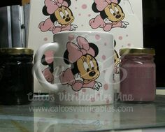 Calco vitrificable de Minnie Bebé con lunares a tres colores para souvenir de baby shower.