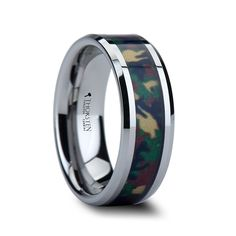 TANGO Tungsten Wedding Band Military Style Jungle Camouflage Inlay 8mm