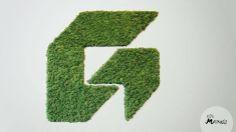 Een logo in het mos