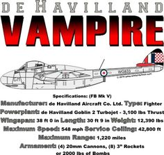 WARBIRDSHIRTS.COM presents 1950-Present T-Shirts, Polos, and Caps, Fighters, Bombers, Recon, Attack, 1950 - Present day. The Vampire