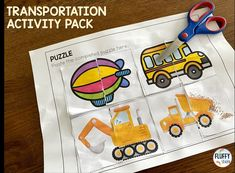 Looking for NO-PREP transportation-theme printable activities? This NO PREP Transportation Preschool pack is perfect for you! With tons of cut & paste activities for your kids, you will save so much time doing lesson plan for your transportation week. Just click & print, you will be ready in no time! Transportation Preschool Activities, Preschool Centers, Motor Activities, Fine Motor Skills, Homeschooling, Literacy, Kindergarten, Packing, Printable