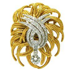 DAVID WEBB BROOCHES | DAVID WEBB Gold, Platinum and Diamond Brooch at 1stdibs