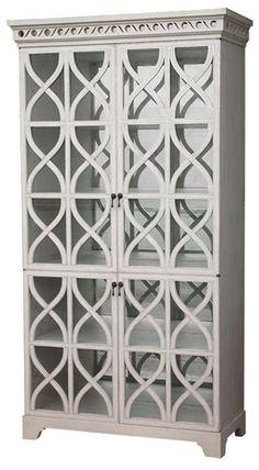 elisabeth glass cabinet one-piece cabinet w/ glass doors, non-antiqued mirror back,  split doors & 3 adjustable shelve