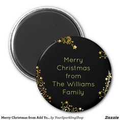 Merry #Christmas from Add Your Name Black Gold Typography #Magnet