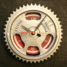 Cool idea: a gear wall clock for the man cave or garage (or both if they happen to be the same!)
