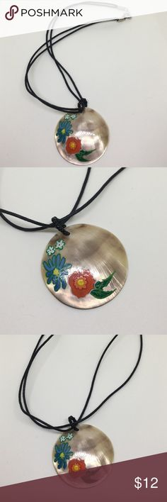 """🆕Hand-Painted Shell Pendant Necklace A 1.25"""" Genuine shell pendant, hand painted with red and blue colorful blooms. Strung on a double cord necklace. In excellent condition; appears to have never been worn. Jewelry Necklaces"""