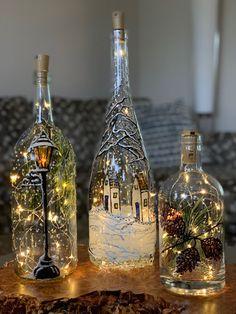 Wine Bottle Art, Glass Bottle Crafts, Wine Cork Crafts, Stained Glass Crafts, Mason Jar Crafts, Crafty Craft, Crafting, Advent, Paint Bottles