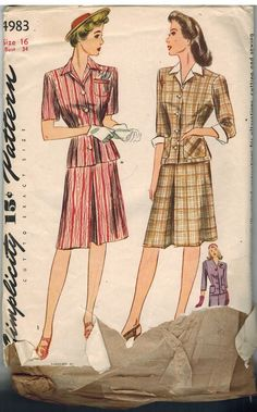 4983 Vintage Simplicity Sewing Pattern Misses 1940's Two Piece Dress Dickey   eBay