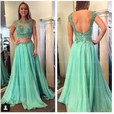 2 piece green dresses for prom - Google Search