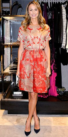 printed red-and-tan Wes Gordon skirt and top