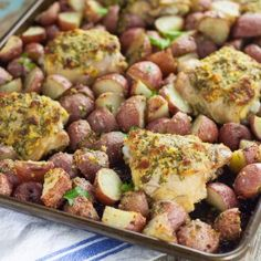 Easy, savory One Pan Garlic Roasted Chicken and Potatoes is a full meal, roasted in the oven all at once. So easy and equally delicious!