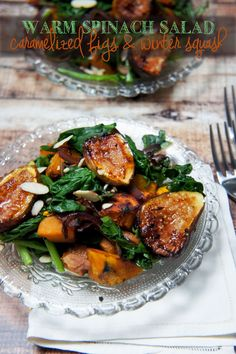 Warm Spinach Salas with Caramelized Figs and Roasted Butternut Squash