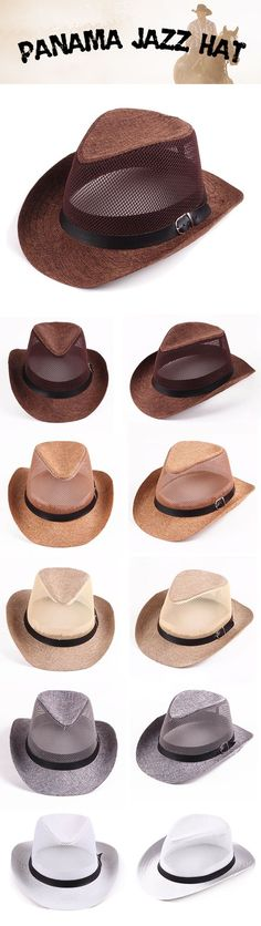bb7ac46675a Mens Summer Breathable Mesh Panama Hats Hollow Out Flax Straw Hat Outdoor  Beach Sun Hat