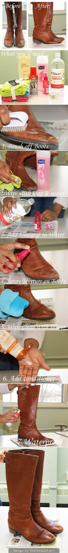 How to Remove Salt Stains from Leather Boots_  Needs: A Shoe Brush, Body Soap, A Spray Bottle, Vinegar, Hair Conditioner, Towel & Leather Boot Waterproofing Spray - src: http://www.11andchic.com/2013/03/how-to-remove-salt-stains-from-leather.html -  created via http://pinthemall.net