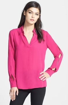 Ro & De Split Seam V-Neck Blouse