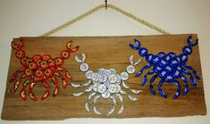 The Crabby Crabs Bottle Caps Wall Hanging