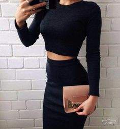 black two piece dress bodycon Pretty Outfits, Cute Outfits, Fashion Outfits, Womens Fashion, Fashion Trends, 90s Fashion, Dress Fashion, Paris Fashion, Fashion Bags