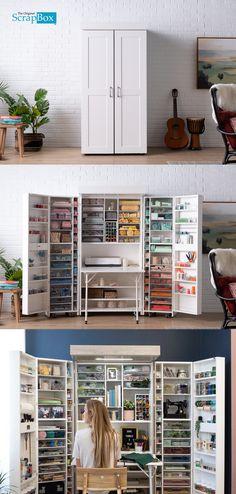 ideas sewing storage cabinet room organization for 2019 Sewing Room Storage, Sewing Room Decor, Sewing Room Organization, Sewing Rooms, Diy Storage, Storage Shelves, Organization Ideas, Organizing Bookshelves, Sewing Closet