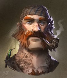 Ginger pirate with bonus hummingbird by Magnus Moren. @we-are-pirate on Tumblr.