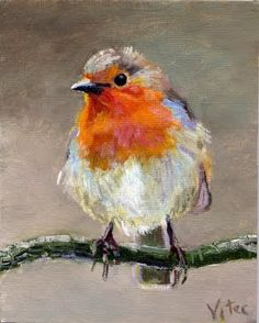 Birds painting by Vitec: Robin original oil painti. Birds painting by Vitec: Robin original oil painting in: Watercolor Bird, Watercolor Paintings, Oil Pastel Paintings, Oil Pastel Art, Oil Pastels, Animal Paintings, Bird Paintings, Painting Flowers, Nature Paintings