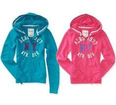 Womens Juniors Aeropostale Pink Green Hoodie Shirt Top Size L Large Full Zip #Aropostale #Hoodie
