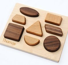 Wood Puzzle Personalized Natural Wood Baby Shapes by manzanitakids