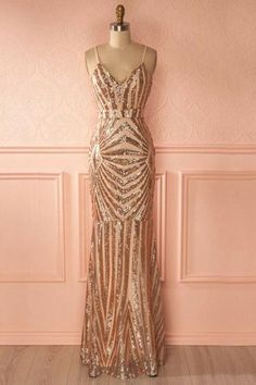 long prom dresses - Mermaid Spaghetti Straps Rose Gold Long Sexy Prom Dress with Sequins Great Gatsby Prom Dresses, Gold Prom Dresses, Prom Dresses 2018, Grad Dresses, Trendy Dresses, Evening Dresses, Gold Dress, Rose Gold Gown, Dress Prom