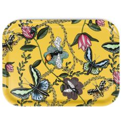 Breakfast tray Bugs Yellow by Nadja Wedin Design #nordicdesigncolletive #nadjawedindesign #yellow #bugs #summer #breakfast #tray #serving #flowers #spring #insects