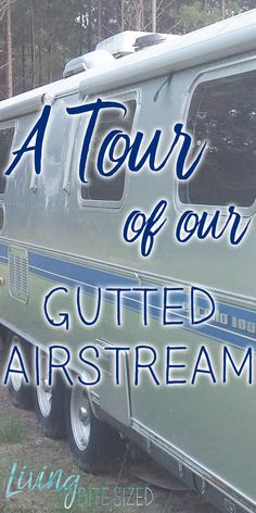We're remodeling our Airstream. First step: time to take out everything! We've spent the last few weeks gutting the whole thing. We've taken out the seating, the cabinets, the appliances- even the shower! What's left is, well, not much. We will be rebuilding everything...