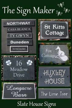 At The Sign Maker we make slate house signs just the way you want them! House Name Signs, House Names, Name Plates For Home, Slate Signs, Sign Maker, Book Writing Tips, Dance Studio, Just The Way, Clear Acrylic