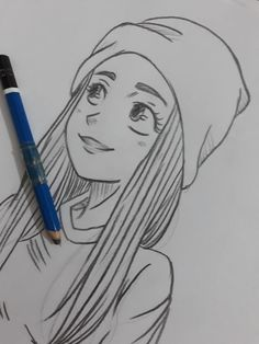 best cute drawings, anime drawings, flower drawing of techniques, great examples of Drawings. Girl Drawing Sketches, Girly Drawings, Art Drawings Sketches Simple, Pencil Art Drawings, Love Drawings, Drawing Eyes, Drawing Art, Drawing Style, Comic Drawing