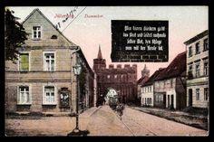 Ansichtskarte / Postkarte Jüterbog, Blick aufs Dammtor, Straßenbahn, Spruch