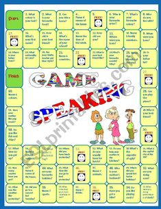 Speaking activity - Revision Board Game - ESL worksheet by miss-o English Games For Kids, English Lessons For Kids, English Worksheets For Kids, English Activities, English Speaking Game, Speaking Games, Teaching English, English Book, Learn English