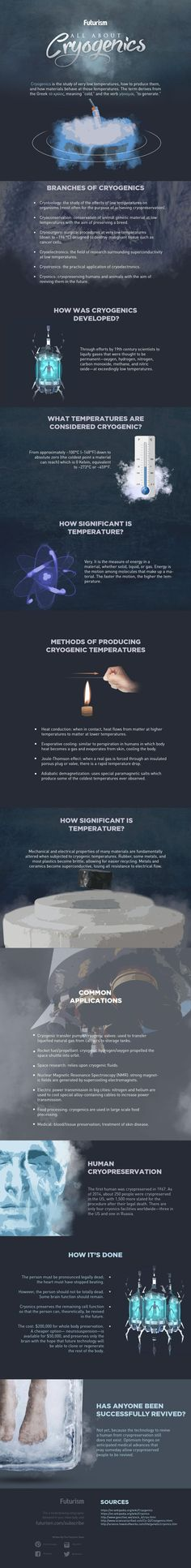 All About Cryogenics [INFOGRAPHIC] — You can do a lot of weird stuff with cryogenics. You can (we hope) someday use it to preserve space voyagers on immense journeys. You can use it for  power transmission. You can even chop someone's head off and cryopreserve it against the possibility of a future resurrection—which, when you think about it, really isn't weird at all.  — https://futurism.com/images/all-about-cryogenics-infographic/