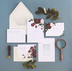 Painted Botanicals Wedding Invitation & by rachelmarvincreative